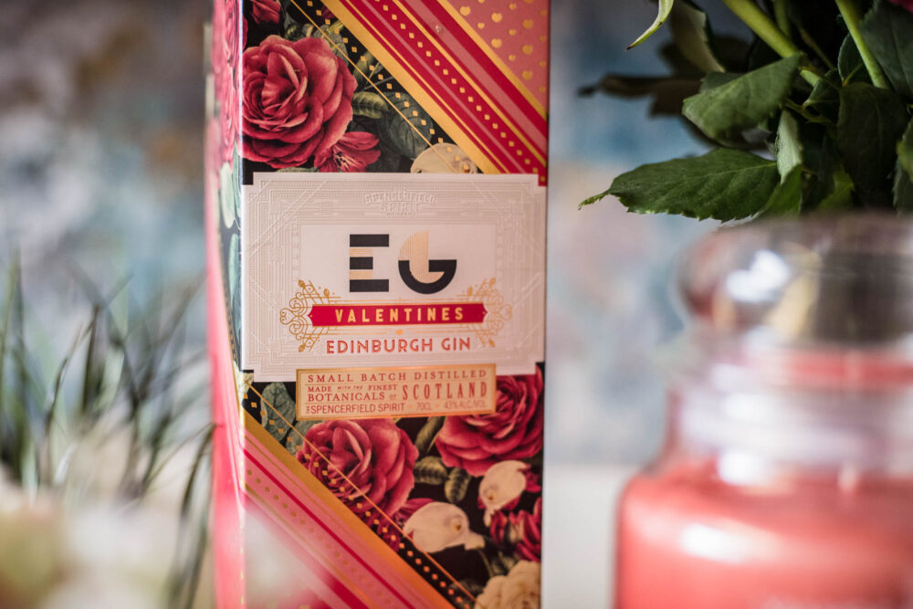 Edinburgh Gin Valentine's packaging with leaves in the background