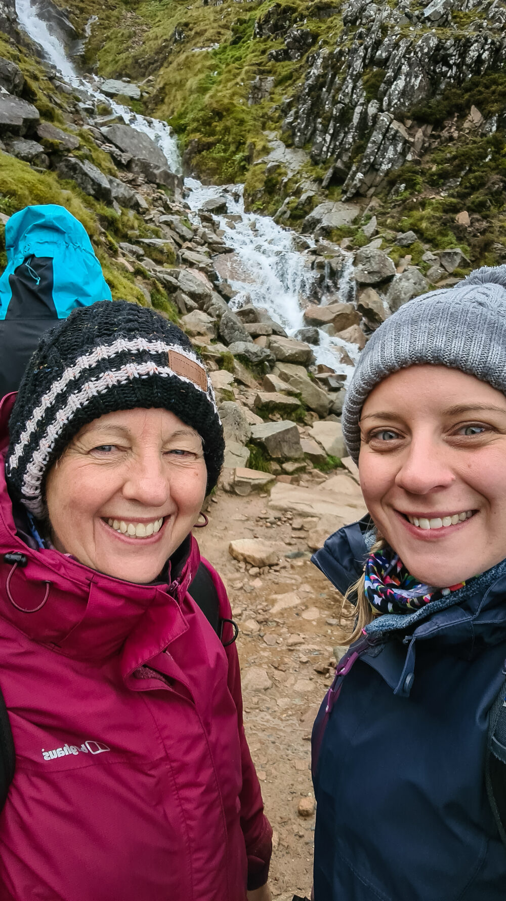 Holly and her Mom on the way back down from Ben Nevis summit with Large Outdoors